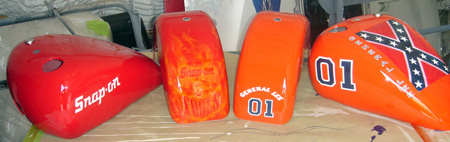 general lee custom painted motorcyle tank for mini choppers for snap on tools