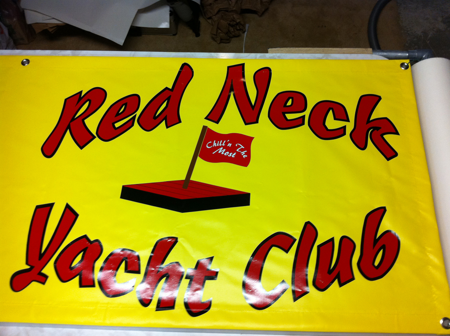 Red Neck Yacht Club Logo Design on a Banner